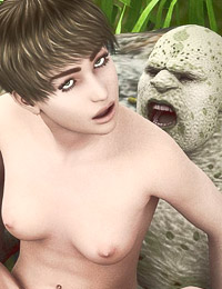 Sexy human bitch thrilled with ugly monster in the wood and fucked hard and wild