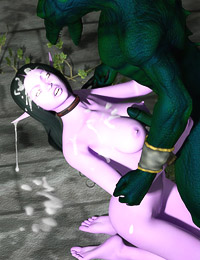 Young night elf slave gets mouth stuffed with big lizzardman's cock and getting the cum dribbling from her elven ears and pretty face