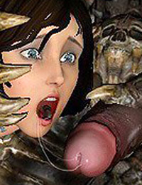 Heroines gets pussy stuffed with big monster's cock