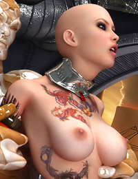 Bald space babe fucked hard by alien overlord