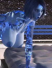 Ideal-looking 3D alien whore is jumping on a massive human dick
