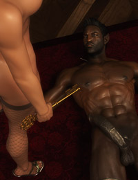 Wide and metallic ebony dong pounded a cute 3D mademoiselle